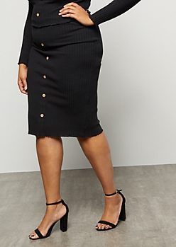 Plus Black Ribbed Knit Button Down Midi Skirt