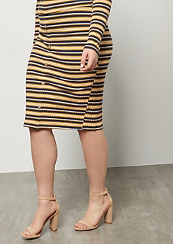 Plus Navy Striped Ribbed Knit Button Down Midi Skirt