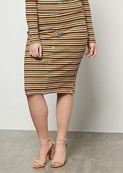 Plus Gray Striped Ribbed Knit Button Down Midi Skirt
