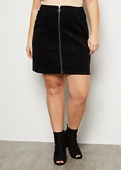 Plus Black Zip Front Corduroy Mini Skirt