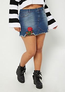Plus Floral & Fishnet Jean Mini Skirt
