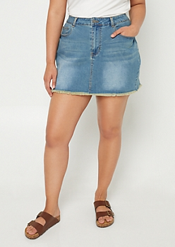 Plus Medium Wash Denim Mini Skirt