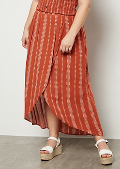 Plus Burnt Orange Floral Print Maxi Skirt