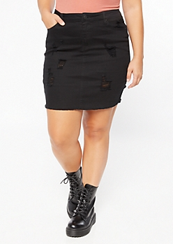 Plus Black Frayed Ripped Jean Skirt