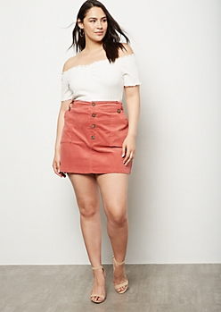 Plus Pink Corduroy Button Down Mini Skirt