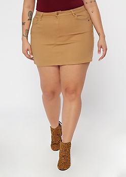 Plus Khaki Twill Mini Skirt