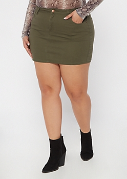 Plus Olive Twill Mini Skirt