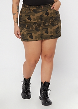 Plus Camo Print Twill Mini Skirt