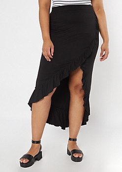 Plus Black Flounce Maxi Skirt