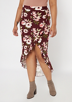 Plus Burgundy Floral Print Flounce Maxi Skirt