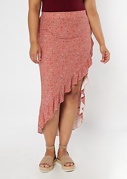 Plus Mauve Floral Print Flounce Maxi Skirt