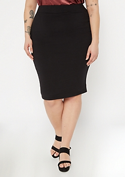 Plus Black Stretchy Midi Skirt
