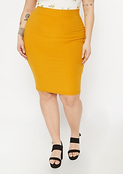 Plus Mustard Ribbed Knit Midi Skirt