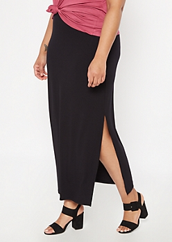 Plus Black Super Soft Maxi Skirt