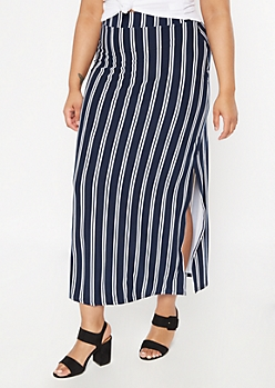 Plus Navy Striped Maxi Skirt