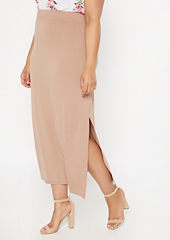 Plus Taupe Super Soft Maxi Skirt