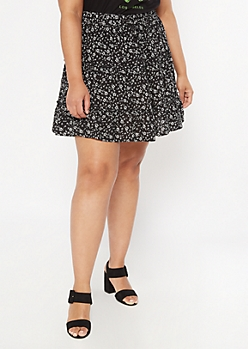 Plus Black Floral Print Ruffle Skirt