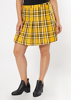 Plus Yellow Plaid Print Pleated Skirt