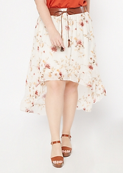 Plus Ivory Floral Print High Low Belted Ruffle Skirt