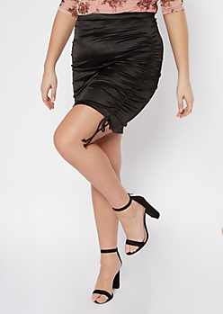 Black Ruched Side Slit Midi Skirt