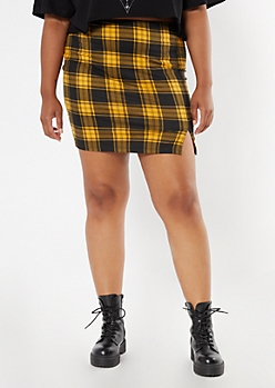 Plus Yellow Plaid Thigh Slit Mini Skirt