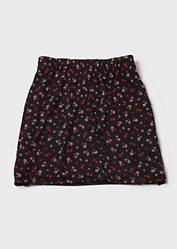 Plus Black Ditsy Floral Mesh Mini Skirt
