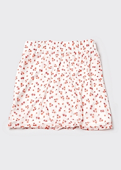 Plus White Ditsy Floral Mesh Mini Skirt