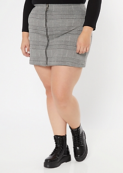 Plus Gray Plaid Print Zip Up Skirt