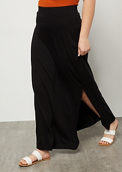 Plus Black Super Soft Side Slit Maxi Skirt