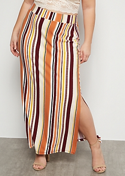 Plus Coral Striped Super Soft Side Slit Maxi Skirt