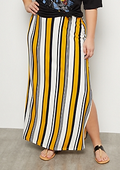 Plus Mustard Striped Super Soft Side Slit Maxi Skirt