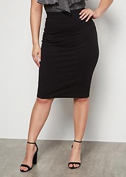 Plus Black Knee Length Essential Skirt