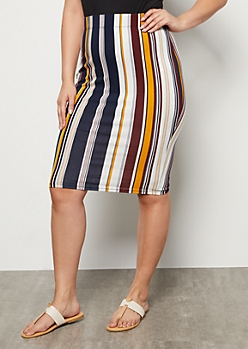 Plus Navy Striped Knee Length Essential Skirt