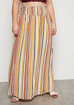 Plus Mustard Border Print Smocked Maxi Skirt