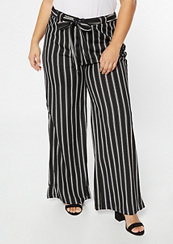 Plus Black Striped Tie Waist Palazzo Pants