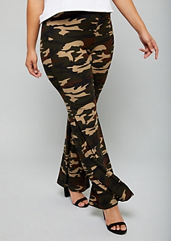 Plus Camo Print High Waisted Super Soft Flare Pants