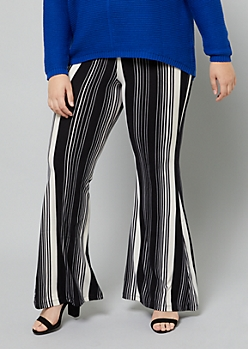 Plus Black Striped High Waisted Super Soft Flare Pants