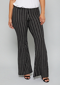 Plus Black Dotted Striped Super Soft Flare Pants