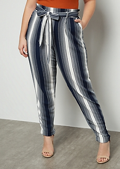 Plus Navy Striped Tapered High Waisted Cuffed Pants