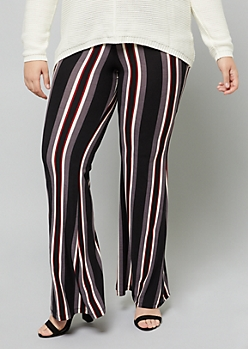 Plus Black Striped High Waisted Flare Pants