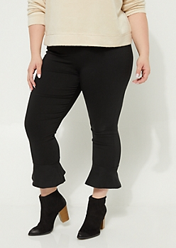 Plus Black Ruffled Hem Pant