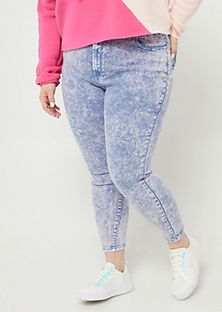 Plus Light Purple High Rise Acid Wash Jeggings