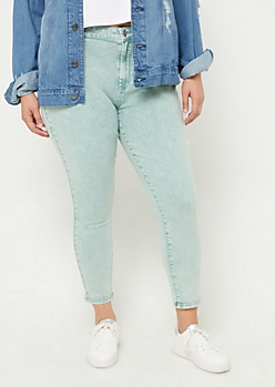 Plus Light Green High Rise Acid Wash Jeggings
