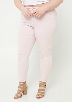 Plus Light Pink High Rise Acid Wash Jeggings
