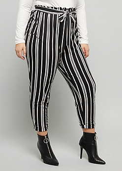 Plus Black Striped Super Soft Extra High Waisted Cuffed Pants