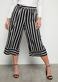 Plus Black Striped Super Soft High Waisted Gaucho Pants