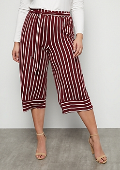 Plus Burgundy Striped Super Soft High Waisted Gaucho Pants