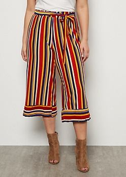 Plus Burnt Orange Striped Super Soft High Waisted Gaucho Pants