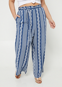 Plus Blue Zig Zag Pattern Tie Waist Palazzo Pants