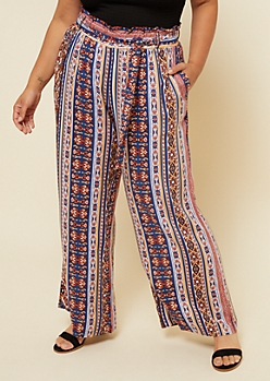 Plus Multi Paisley Pattern Tie Front Palazzo Pants